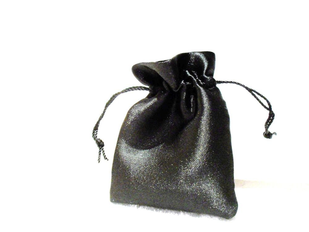 BLACK Satin Fabric Pouch Crystal Jewellery Gift Bag BUY 2 GET 1 FREE
