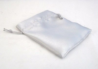 SILVER GREY Satin Fabric Pouch Crystal Jewellery Gift Bag BUY 2 GET 1
