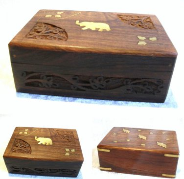 JEWELLERY TRINKET BOX Hand Carved Wood Box with Elephant Brass Inlay Small Large