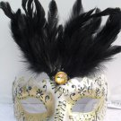 FANCY DRESS VENETIAN MASK Jewel Rialto Eye Mask with Black Top Feathers Costume