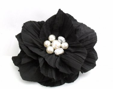 HAIR CLIP CORSAGE Crinkled Jewelled Flower Hair Clip Corsage Pin BLACK