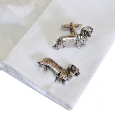Cufflinks English Made Dachshund Pewter Cufflinks