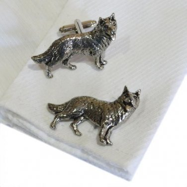 Cufflinks English Made German Shepherd (Alsation) Pewter Cufflinks