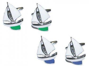 Gents Cufflinks Enamelled Yacht Cufflinks in Gift Box Ship Sailing Nautical Boat