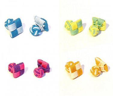 Gents Cufflinks Square Silk Knot Style Cufflinks Colour Choice