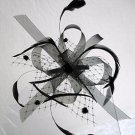 Looped Net Mesh & Feather Comb Fascinator Black Cream