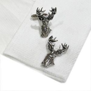 Cufflinks English Made Stags Heads Facing Forward Pewter Cufflinks