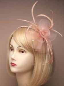 Pastel Peach Looped Net & Feather Fascinator on Alice Band - Wedding Races Ball