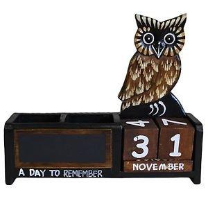 Shabby Chic Brown Owl Wooden Calendar Pen Pot Pen Holder Desk Tidy