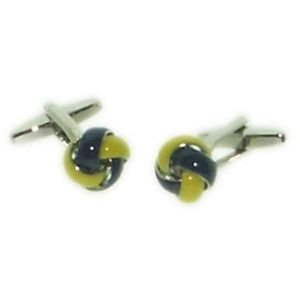 Ladies Knot Cufflinks - Two Tone Blue and Gold Colour Knot Design Cufflinks