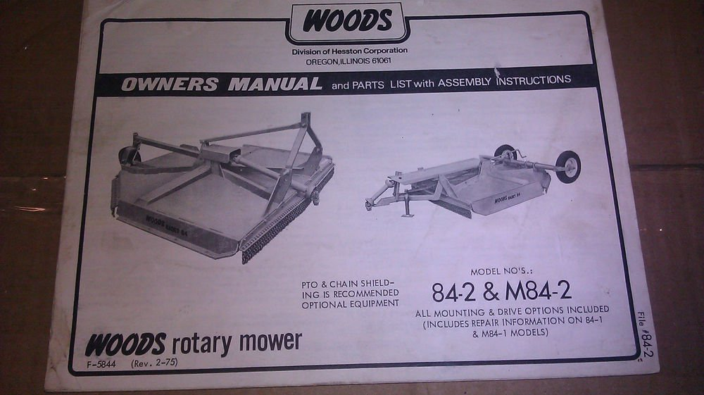 Genuine Woods Rotary Mower Model 84 2 Amp M84 2 Owner S