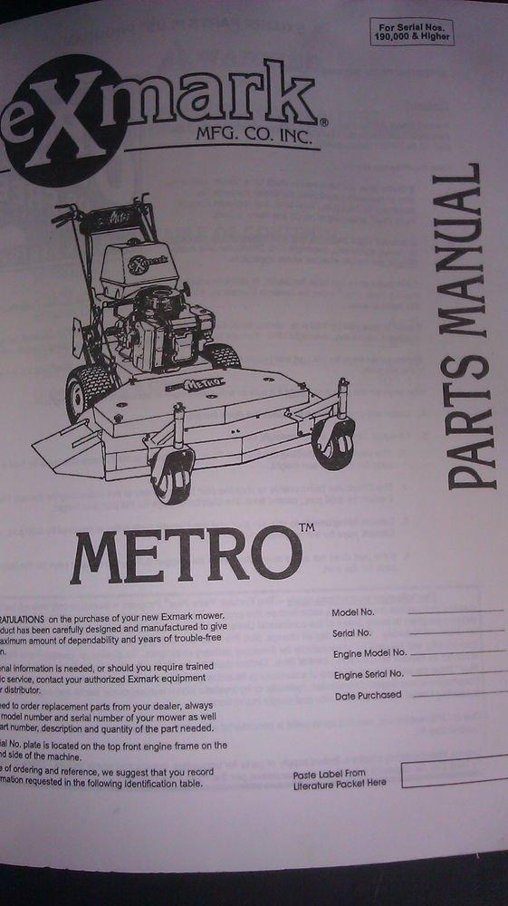 1997 1998 exmark metro parts manual 850611 serial numbers 190 000 rh sunparts ecrater com Exmark Parts Breakdown exmark metro 26 parts manual