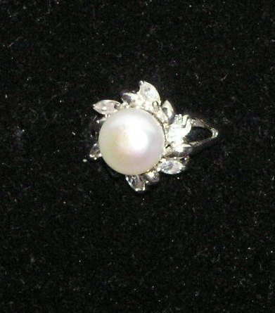 Pearl and CZ Ring