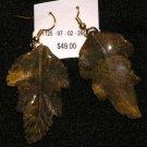 Jasper carved leaves earrings
