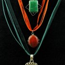 Item No.00501  Agate Necklace in Artisan Metal Setting