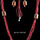 Item No. 01597 Coral Set, Set in Artisan Metal Setting