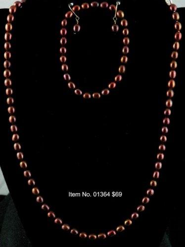 Item No. 01364 Pearl Set, Set in Artisan Metal Setting