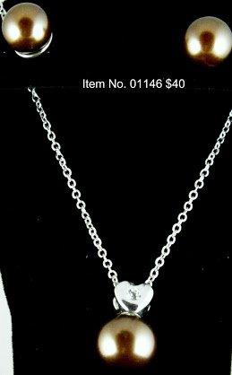 Item No. 01146 Pearl Set, Set in Artisan Metal Setting