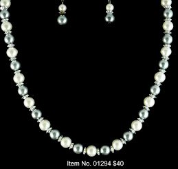 Item No. 01294 Pearl Set, Set in Sterling Setting