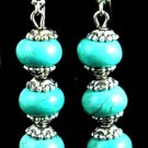 Item No. 00804 Tribal Turquoise Earrings in Artisan Metal Setting