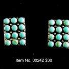 Item No. 00242 Turquoise Earrings in Artisan Metal Setting