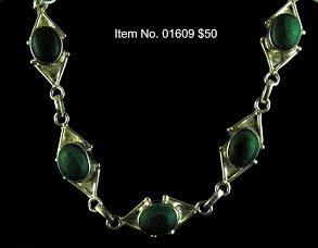 Item No. 01609 Malachite Bracelet in Sterling Setting