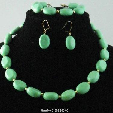 Item No.01582 Tribal Turquoise Set in Artisan Metal Setting
