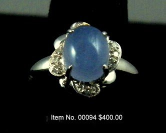 Item No. 00094 Chalcedony Ring: in 14K White Gold Setting