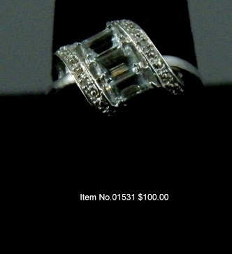 Item No. 01531 Aquamarine and Diamond  Ring set in Sterling Silver