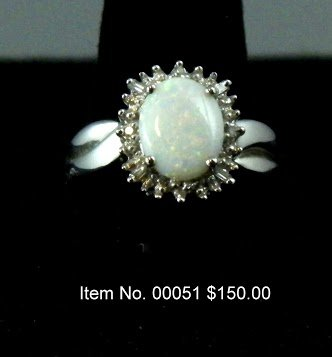 Item No. 00051 Opal Ring: in 14K White Gold Setting