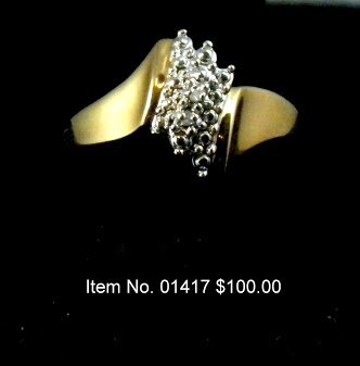 Item No. 01417 Diamond Ring: in Gold over Sterling Setting