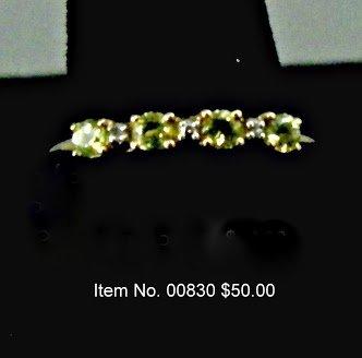 Item No. 00830Peridot & Diamond Ring: in10K yellow gold setting  Setting