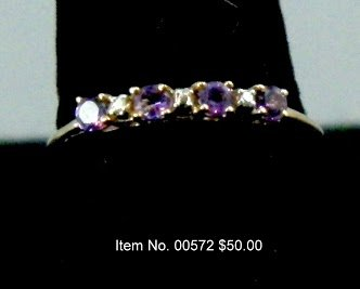 Item No. 00572 Diamond and Amethyst Ring: in 10 Yellow Gold Setting