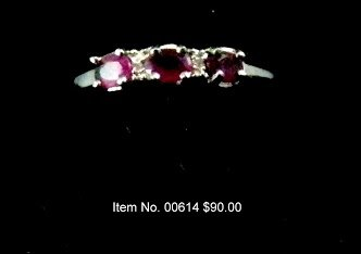 Item No. 00614 Natural Ruby Ring: in 14K White Gold Setting