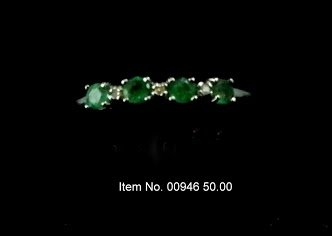 Item No. 00946 Natural Emerald Ring: in 10K White Gold Setting