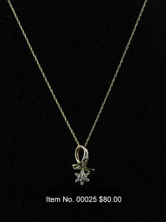 Item No. 00025 Diamond Necklace in 14K Yellow Gold Setting