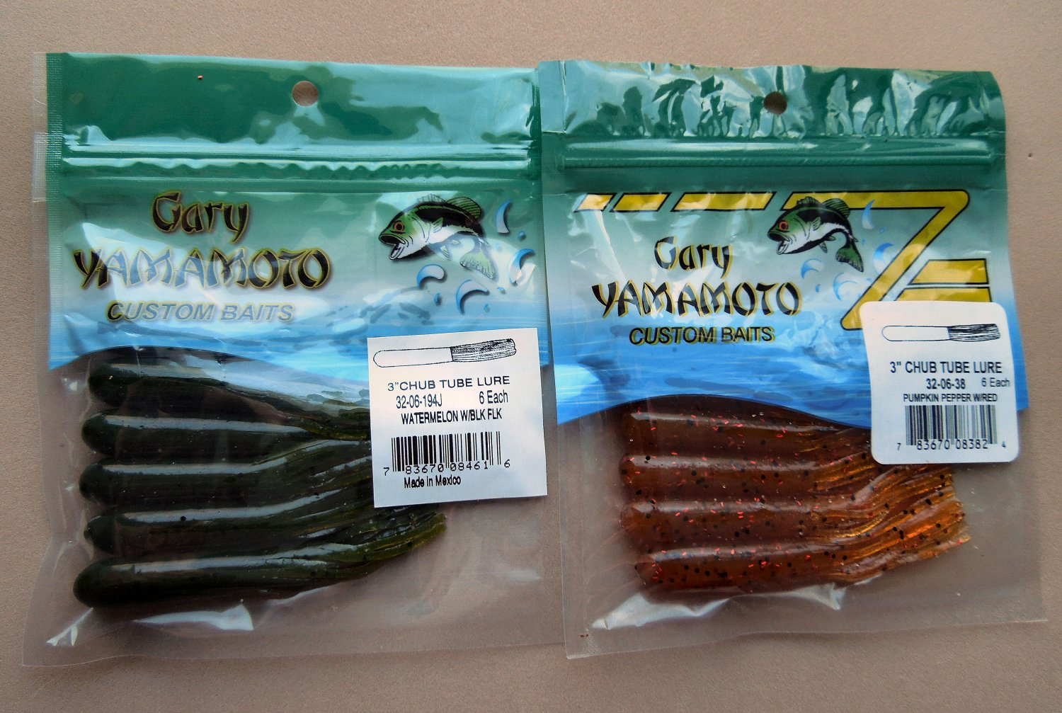 "Yamamoto 3"" Chub Tube 6 Per Pack x 2 Different Colors....32-06-194J and 32-06-38"