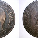 1854-A French 5 Centimes World Coin - France