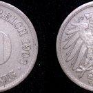 1908 F German 10 Pfennig World Coin -  Germany