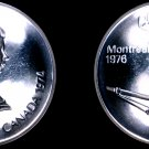 1974 Canadian Proof Silver 5 Dollar World Coin - Canada 1976 Montreal Olympics