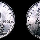 1951 Vatican City 2 Lire World Coin - Catholic Church Italy