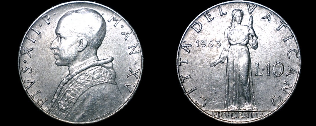 1953 Vatican City 10 Lire World Coin - Catholic Church Italy