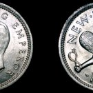 1943 New Zealand 3 Pence World Silver Coin