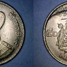 1957 BE2500 Thai 50 Satang (1/2 Baht) World Coin - Thailand Siam