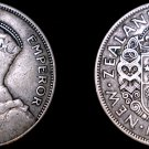 1933 New Zealand 1/2 Crown World Silver Coin
