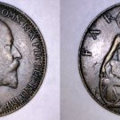 1909 Great Britain 1 Farthing World Coin - UK - England