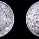 1872-PTS FE Bolivian 5 Centavo World Silver Coin - Bolivia - Holed