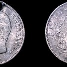 1857-A French 50 Centimes World Silver Coin -  France - Holed