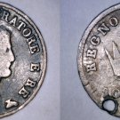 1813-B Italian States Kingdom of Napoleon 10 Soldi World Silver Coin - Holed