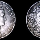 1899 Swiss 20 Rappen World Coin - Switzerland - Mount Removed